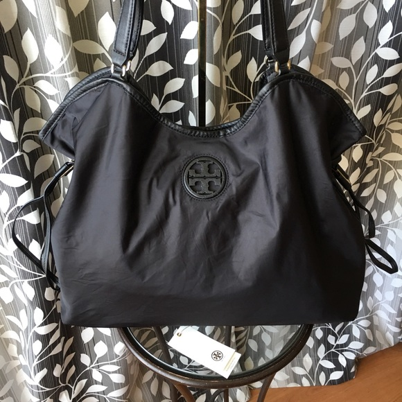 32a9ce9d6cbf Tory Burch slouchy Nylon Leather Tote Bag. M 5be0fbaeaaa5b8d73133ac69